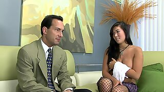 London fucked on a couch in fishnet stockings
