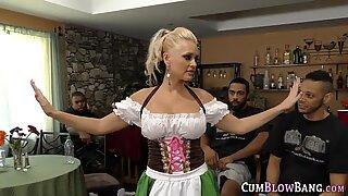 Blondie milf sucks black cocks