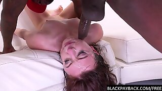 She deep throats a huge black cock
