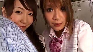 Japanese girls in pantyhose playing with a cock