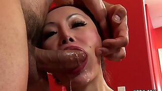 Kinky Asian gal Angie Venus takes it in the rear