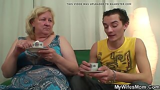 Boy fucks mega boobs wifes mother on the floor