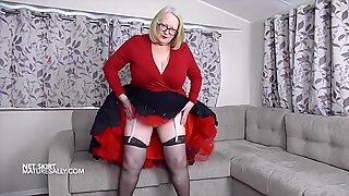 Teasing in my full black skirt and red petticoat