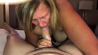 Mature cougar sucks and fucks young cock