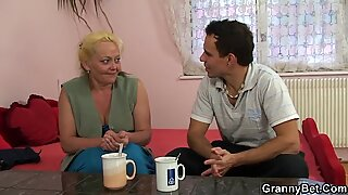 Old granny is picked up and pussy fucked