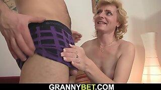 He picks up skinny blonde mature woman