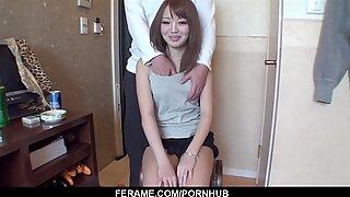 Sexy girl Nana Asano receive dick and jizz on her hairy
