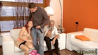 Old man hd Vanessa, her boycrony and his father desired to watch TV together - Pralinka