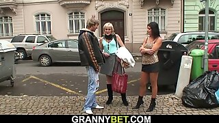80 year old blonde prostitute rides his horny cock