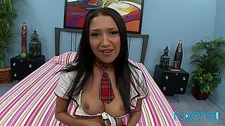 Skinny Asian schoolgirl Vicky Chase