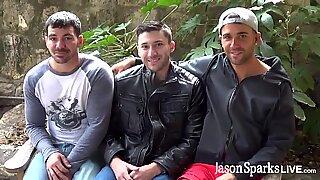 Gay hunks Alex Mason and Brogan Reed breed bareback after DP bareback 3way