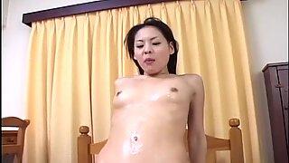 Playful Japanese chick Tyara slips over the dude