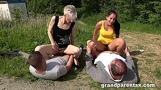 family cums first - roadside huge creampie