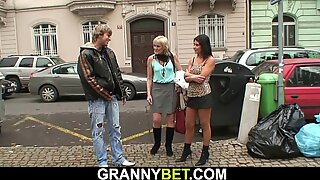 70 years old blonde prostitute plays with his big cock