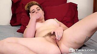 Chesty Megan Masturbating Her Hairy Cunt