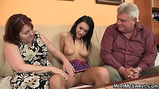Meeting with his old parents leads to threesome orgy