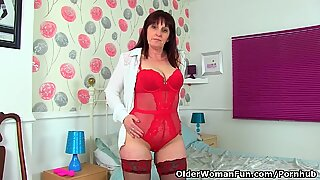 English milf Beau lets us love her bodacious assets