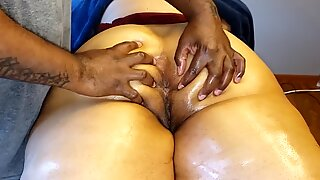 Rubbing her soft ass and butt hole