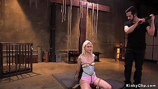 Bound blonde cutie hairy pussy banged