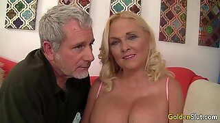 Lustful Granny Sara Skippers Pleasures Her Man with Mouth and Pussy