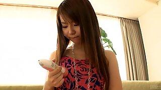 Oriental finger copulates juicy pussy