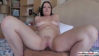 Chubby MILF stepmother riding on her stepsons big cock