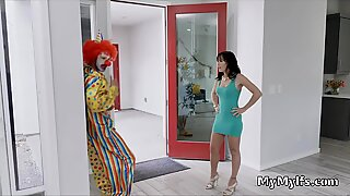 Milf sucks thick clown dick after bday party